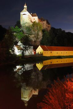 Night view of the castle Raabs and the river Thaya Austria