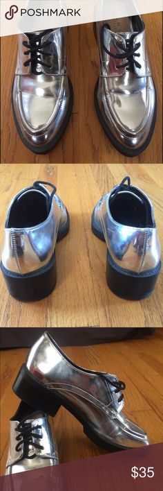Zara Silver Oxfords EU Size 37 Beautiful, comfortable shoes.  Heels are 1.75 high. There is a scratch see picture 4. Zara Shoes