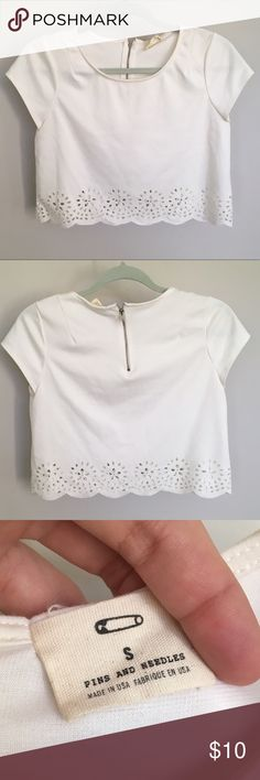 Pins & Needles UO cutout crop top Beautiful (no stains) white crop top with cutout embellishments and scalloped edge! ⭐️ Pins and Needles brand by Urban Outfitters ⭐️ Size small ⭐️ Motivated seller accepting offers! Urban Outfitters Tops Crop Tops