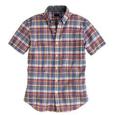 Indian cotton short-sleeve shirt in blue plaid - shirts - J.Crew