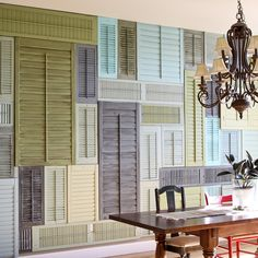Repurposed Shutters: DIY Home Decor Ideas. See how to reinvent your home with old shutters. From dividers and headboards to wall decor and display ideas! Old Window Shutters, Diy Shutters, Repurposed Shutters, Wooden Shutters, Bedroom Shutters, Salvaged Doors, Vintage Shutters, Window Panes, Old Doors