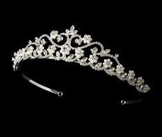 Silver Plated Crystal and Pearl Bridal Tiara hp2031 - Affordable Elegance Bridal -