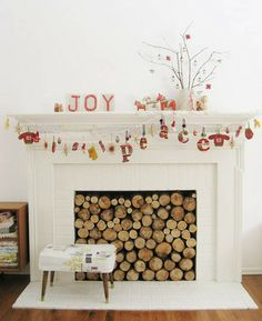 A full, but adorable fireplace. Great idea for one that no longer works.