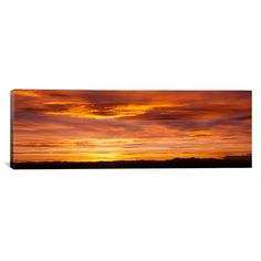 Panoramic Sky at Sunset, Daniels Park, Denver, Colorado Photographic Print on Canvas