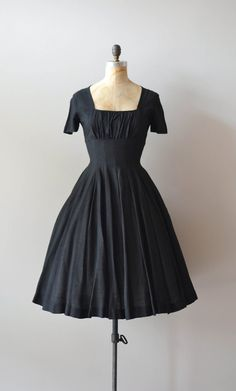 vintage 50s dress / black 1950s dress / Hidden Heart silk dress