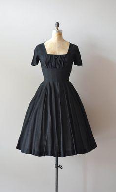 vintage 50s dress / black 1950s dress / Hidden Heart silk dress