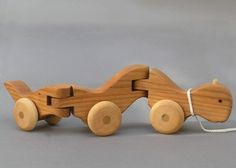 Wiggle Worm Pull Toy wooden Waldorf Animal on Wheels Gift for Babies Toddlers Kids Girls  Boys Baby Shower Safe Teathing