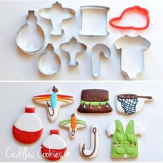 Fishing cookies using all kinds of cookie cutters… Fish Cookies, Fancy Cookies, Iced Cookies, Cute Cookies, Royal Icing Cookies, Cupcake Cookies, Owl Cookies, Camping Cookies, Summer Cookies