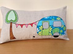 My favourite item at the moment. Can be made in your choice of colours.Linen cushion with applique design and hand finished detailing.Polyester cushion insert x approx Applique Patterns, Applique Designs, Quilt Patterns, Retro Caravan, Retro Campers, Applique Cushions, Sewing Pillows, Free Motion Embroidery, Machine Embroidery