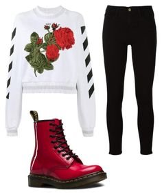 """Untitled #39"" by hofer-mackenzie on Polyvore featuring Off-White, Frame and Dr. Martens"