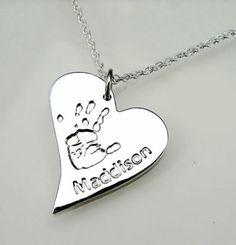 Handtprint charm necklace