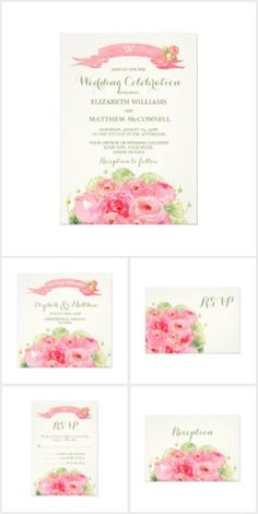 Romantic Rose Wedding Set Romantic Pink Rose Watercolor Painting Design Personalized Wedding Invitations. Customize the names, date , text and all details of your Invitations. Matching Bridal Shower Invitations, Save the Date Cards, Wedding Postage Stamps, Bridesmaid to be Request Cards, Thank You Cards and other Wedding Stationery and Wedding Favors and Gifts