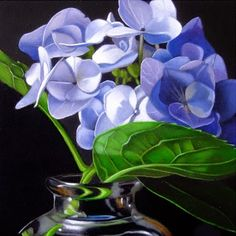 Small Hydrangea 4x4, painting by artist M Collier