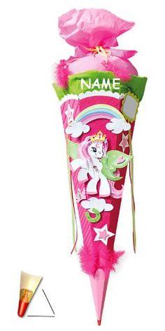 BASTELSET Schultüte - Einhorn Pony 85 cm - incl. NAMEN - mit Holzspitze - Zuckertüte Roth ALLE Größen - 6 eckig Pferd Pferde Einhörner rosa