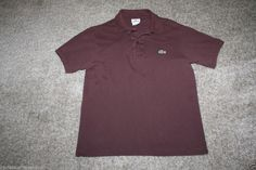 Lacoste Mens Brown Polo Shirt Size 3 Small #Lacoste #PoloShirt