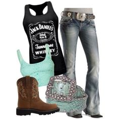 shirt jack daniel's black tank top jeans cowboy boots cowgirl boots country style Belt shoes tank top