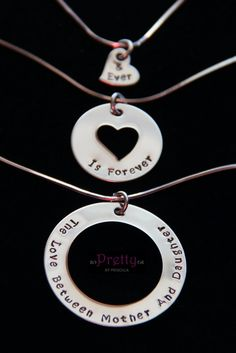 Mother Daughter Jewelry- Grandmother Mother Daughter Necklace Set-Three Generations-The Love Between Mother & Daughter is Forever and Ever