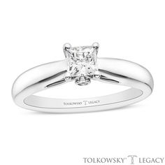 Tolkowsky®+Legacy+1/2+CT.+T.W.+Certified+Princess-Cut+Diamond+Solitaire+Engagement+Ring+in+14K+White+Gold+(I/SI2)