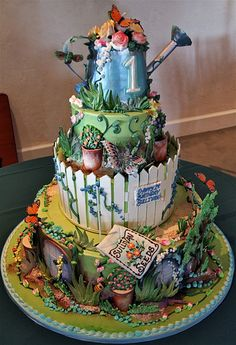 """What an amazing piece of delectable detailing Birthday Garden (by Rosebud Cakes - 23 Year Anniversary)"""" Gorgeous Cakes, Pretty Cakes, Amazing Cakes, Take The Cake, Love Cake, Unique Cakes, Creative Cakes, Cupcakes, Cupcake Cakes"""