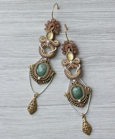Long soutache earrings with emerald. Handmade earrings with gemstones, emerald, citrine, jadeite, gold plated silver. Unique subtle jewelry.