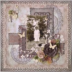 Great Aunt Monsie ~ Gorgeous heritage page with a layered background and lace edging.