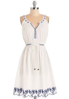 Santorini Sweetie Dress. As alluring as the blue-and-white landscape of the seaside you dream of, this dress is inspires fond memories of your favorite vacations. #white #modcloth