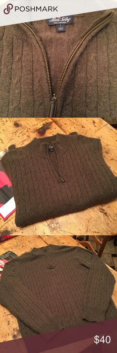 Soft! Allen Solly cable knit cashmere 1/4 zip Soft brown, super soft sweater is in very good condition except for a few moth holes in one cuff as shown. Here's your chance to own a gorgeous cashmere sweater at a bargain basement price. Allen Solly Sweaters