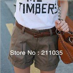 Free Shipping Women's Plus Size100%  cotton 5 color slim short  pants trousers DY F539 $21.99