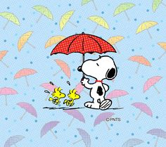 Snoopy and friends with umbrellas.