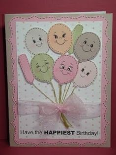 cricut cards and peachy keen faces. Cricut Birthday Cards, Kids Birthday Cards, Cricut Cards, Diy Birthday, Scrapbooking, Scrapbook Cards, Disney Scrapbook, Scrapbook Layouts, Baby Cards