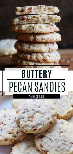 Pecan Sandies are rich buttery shortbread cookies filled with glorious They are the perfect cookies for a cookie exchange party! This easy sweet treat is also the perfect gift idea for the holidays. Save this crispy yet chewy pecan sandies for later! Pecan Sandies Cookies, Chocolate Chip Shortbread Cookies, Buttery Shortbread Cookies, Toffee Cookies, Köstliche Desserts, Delicious Desserts, Dessert Recipes, Yummy Food, Healthy Food