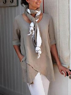 Pockets Half Sleeve Asymmetrical Casual Blouses - Fashion - Womens - Women's Clothing - Shirts & Blouses - #fashion #clothing #blouse Half Sleeves, Types Of Sleeves, Casual Tops, Casual Shirts, Casual Jeans, Mini Robes, Looks Chic, Mode Outfits, Fashion Outfits