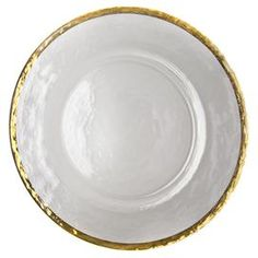 Glass charger plate with a hand-painted gold rim.     Product: ChargerConstruction Material: GlassColor: White and goldFeatures:  Hand-paintedPattern will not scratch or fade off Dimensions: 13 DiameterCleaning and Care: Hand wash