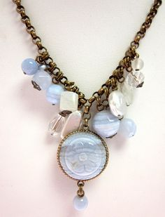 NWT STEPHEN DWECK Brass Chain Link Mother Of Pearl Enamel Beaded Floral Necklace at www.ShopLindasStuff.com