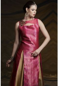 Pink glorious brocade & raw silk indowestern with zardosi work-GC1784 #aline #mermaid #fishcut #lehenga #lehngha #bridallehenga #weddinglehenga #circular #indowestern #rawsilk #puresilk #embroidered #zardosi #gota #resham #beads #sequins #cutdana #mirror bridesmaidlehenga #net #designer #lycra #simple