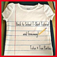 Back to School t-shirt tutorial by Tuts & Tea Parties