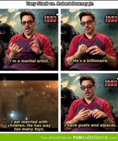 Tony Stark vs Robert Downey Jr.  I really can't explain why I find this so funny!