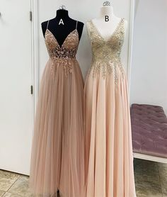 Spaghetti Straps V neck Appliques Beaded Long Prom Dress, Sexy Floor Length Evening Party Dress - Prom Dresses Design Best Prom Dresses, Grad Dresses, Homecoming Dresses, Sexy Dresses, Beautiful Dresses, Evening Dresses, Bridesmaid Dresses, Formal Dresses, Formal Prom