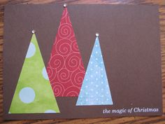 """Handmade Christmas Card - Trees...could say """"Noel"""" or """"Joy to the World"""""""