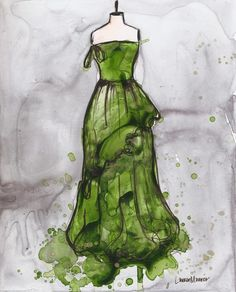 Print - Watercolor and Ink Painting - Vintage Dress Painting - Vintage Green and Gold Ballgown - 10x13