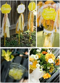 I love these garden sticks with ribbon and lace to stick out in the planter by the entrance. This flower arrangement is sunny and bright and happy and beautiful and I love it too :)
