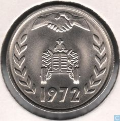 "Coins - Algeria - Algeria 1 dinar 1972 ""F.A.O."" (legend touches the inner circle)"