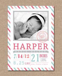 BABY Announcement BIRTH Announcement - Baby GIRL - Birth Card