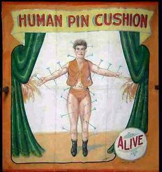 human pin cushion sideshow banner by Fred G. Johnson