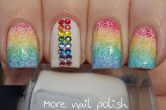 Rainbow gradient stamped with rainbow Swarovski crystals