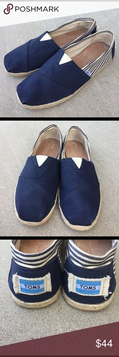 TOMS blue and striped canvas shoes for MEN size 11 Like new , size 11 Men's , Nautical look TOMS Shoes Loafers & Slip-Ons