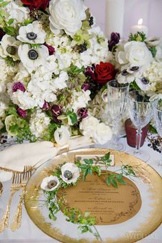 Only the prettiest, #gold-accented, wild flower-adorned table #WedLuxe Magazine