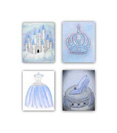 princess nursery cinderella baby girl nursery princess wall art royal crown princess castle shoe dress set 4 blue princess decor - Blue Castle Decor