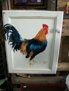 Brilliant Rooster Painting On Repuposed by TheGardenAndMore, $59.95