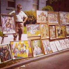My pops back in the 70's selling his artwork at an art fest he started in New York. :)) #artfestival #retro #sidewalk #artwalk #dahlstrom #streetart #houseofdahlstrom #oldschool